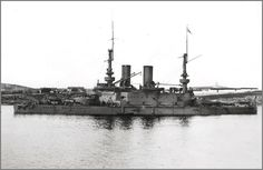 Imperial Russian Navy predreadnought battleship Tri Sviatitelia at anchor, Sevatopol, 1917.