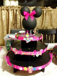 Minnie Cup Cake Stand DIY Lizzie Perez PARTY DECORATIONS