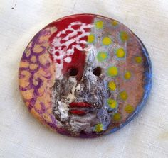Huge Ceramic Button - Faces are Strange -  2 hole sew on button - hand made ceramic button