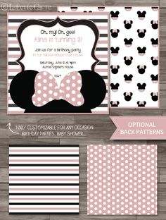 Minnie Mouse Invitation Baby Pink, Minnie Mouse Birthday Party, Minnie Mouse Baby Shower Invitations, Disney Party - DIGITAL PRINTABLE FILE