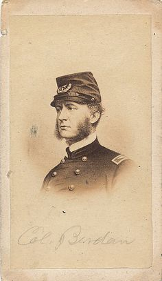 A nice carte view of Colonel Hiram Berdan of the famed 1st and 2nd United States Sharp Shooters. This is taken from the view by Brady done while he was serving as a colonel in the 1st USSS. Period pencil inscription on both the front and back. No back mark however.