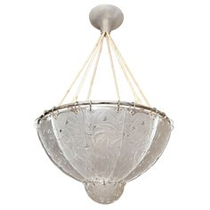 """R. Lalique Chandelier """"Feuilles de Charmes""""   From a unique collection of antique and modern chandeliers and pendants  at http://www.1stdibs.com/furniture/lighting/chandeliers-pendant-lights/"""