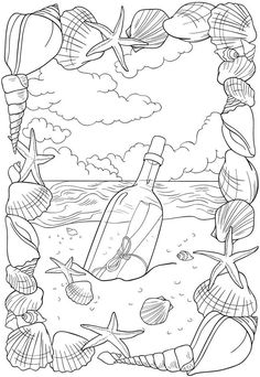 Message in a Bottle free coloring sheet for adults; beach: ocean