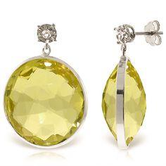 Lemon Quartz and Diamond Stud Earrings 34.0ctw in 9ct White Gold #Gemstones #Jewellery #GemstoneJewellery