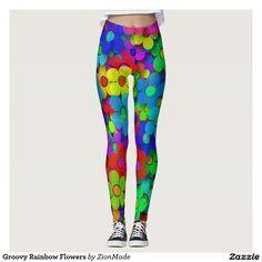 Groovy Rainbow Flowers Leggings