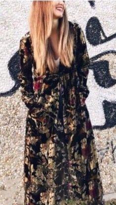 87d69fcb NWT ZARA COMBINED FLORAL JACQUARD KIMONO V Neck Black Dress Size M  Ref.2731/030 #ZARA #Dress #Casual