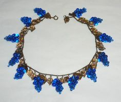 Vintage Unsigned Miriam Haskell Cobalt Blue Glass Bead Grapes Dangle Necklace 15 in Jewelry & Watches, Vintage & Antique Jewelry, Costume, Retro, Vintage 1930s-1980s, Necklaces & Pendants | eBay