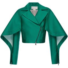 Antonio Berardi Emerald Silk Scuba Short Jacket ($3,000) ❤ liked on Polyvore featuring outerwear, jackets, silk slip, blue silk jacket, batting jackets, blue slip and short slip