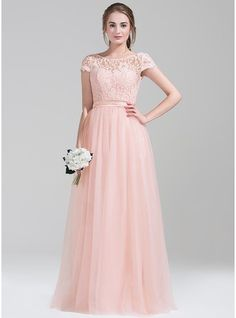 A-Line/Princess Scoop Neck Floor-Length Tulle Prom Dress With Bow(s)