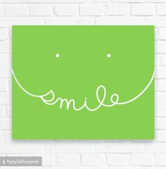 Smile DIGITAL DOWNLOAD Printable Wall Art Modern Lime Green Decor Typographic Art Typography Print Inspirational Quote Motivational Poster