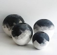 Our wabi-sabi black & white brushed ombre moon vases are all hand-thrown and trimmed on the wheel using stoneware clay. Once trimmed and bisque fired, each