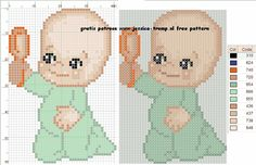 Baby with a Spoon Cross Stitch or Perler Bead Pattern