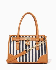 charming charlie | Striped Canvas Lock Satchel #charmingcharlie