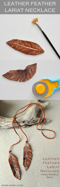 DIY Leather Feather Lariat Necklace + Free Printable Feather Guide, learn to make a simple leather lariat painted necklace, feather necklace, Free People Hack via @madeinaday