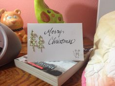 I decided to make a Christmas card, I especially love the little mouse in the corner! :D