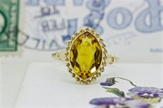 Antique Citrine Ring Navette Gemstone by FergusonsFineJewelry Etsy Jewelry, Jewelry Shop, Black Jewelry, Fine Jewelry, Citrine Ring, Right Hand Rings, Art Deco Ring, Three Stone Rings, Antique Engagement Rings
