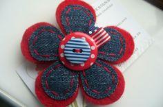 Wool Felt & Denim Flower Brooch or Corsage