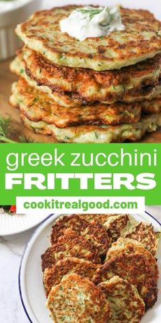 These Greek zucchini fritters are a quick, easy and healthy weeknight dinner option.  Made with feta and dill, they're crispy on the outside and tender (but not soggy) on the inside. Hearty Soup Recipes, Best Vegetarian Recipes, Healthy Dinner Recipes, Yummy Recipes, Side Dishes Easy, Side Dish Recipes, Healthy Weeknight Dinners, Easy Meals, Potassium Rich Foods