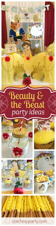 Be our guest at this fabulous Beauty & the Beast birthday party. Love the cupcakes with Belle toppers!! See more party ideas and share yours at CatchMyParty.com