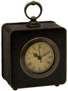 Square Black Faux Leather Antique Style Desk Clock
