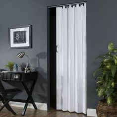 LTL Home Products The PVC/Vinyl White Accordion Door offers a flair of design and privacy to your room. The doors can be trimmed in height and offer reversible door handing. The doors can be installed as a double door by using 2 single doors. Curtains For Closet Doors, Sliding Closet Doors, Bedroom Doors, Ideas For Closet Doors, Glass Barn Doors, Wood Doors, Accordion Folding Doors, Accordion Doors Closet, Vinyl Panels