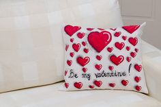 Hand painted pillow with red hearts and a by ThePillowWorld