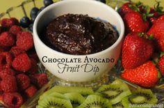 Chocolate Avocado Fruit Dip. What a yummy indulgence to satisfy your sweet tooth without feeling guilty!