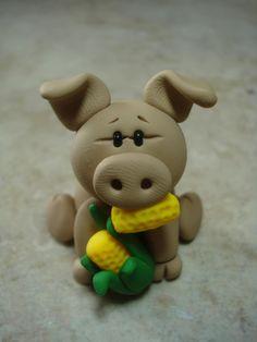 Pig Clay Figurine by ClayCreationsbyLaura on Etsy, $8.00