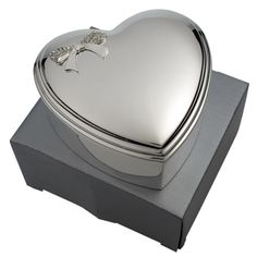 £25.99 - Engraved Heart Trinket Box with Crystal Bow