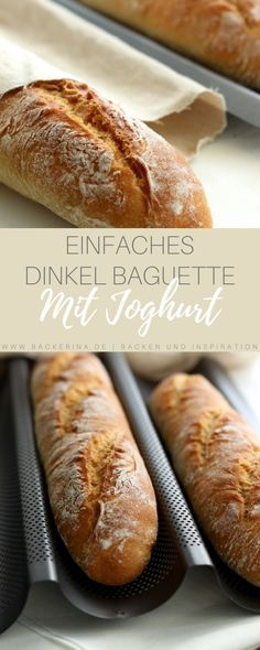 Recipe for a simple spelled baguette with yoghurt from bäckerina - Baguette recipe for Thermomix®️ – delicious spelled baguette baking for beginners! Pork Recipes, Bread Recipes, Pizza Recipes, Cake Recipes, Dinner Recipes, Baking For Beginners, Bread Bun, Easy Bread, Pampered Chef