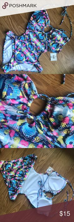 Monokini Swimsuit OP monokini swimsuit. NWT but hygienic liner has been removed.  Size L 11/13. Lined/padded cups. Adorable style! Ocean Pacific Swim One Pieces