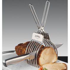 pinça para carne - kuchenprofi. Uma solução perfeita para cortar carne assada e recheada, pão a metro, tender entre outras! Fatias uniformes e precisas, de acordo com a sua vontade!