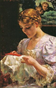 James Carroll Beckwith (American painter, 1852-1917) The Embroiderer