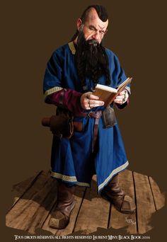 dwarf merchant, Laurent Miny on ArtStation at https://www.artstation.com/artwork/JZdRR