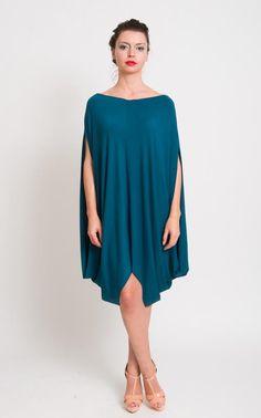 New Blue Dress  Chic Draped Tunic Cocoon Space Age by mijumaju, $111.00