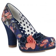 Ruby Shoo favourite Eva is a fresh and edgy court shoe with a covered chunky heel and low platform. Bold floral uppers team with a denim heel, and the contrasting coral and denim flower trims show this versatile shoe off to its full potential, along with polka dot linings. Ruby Shoo Eva matches perfectly to bag style, Lima. http://www.marshallshoes.co.uk/womens-c2/ruby-shoo-womens-eva-floral-slip-on-court-shoe-09097-p4744