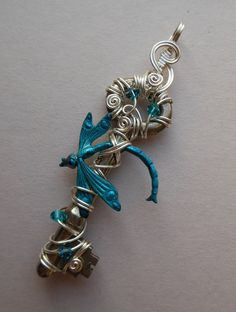 Dragonfly Key Pendant -- Turquoise Dragonfly, Silver Wire Wrapped Antique Key, Blue-Green Dragonfly in Flight, Swarovski Crystals