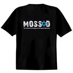 Show your love and support for the defenders of Israel - as well as your sense of fun - with this great t-shirt featuring the word Mossad with a Star of David above the phrase The Institute for Intelligence and Special Operations.