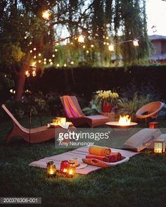 Whimsical Raindrop Cottage, (via Getty Images - Lounge chairs in garden at. Outdoor Spaces, Outdoor Living, Outdoor Decor, Outdoor Life, Luau, Night Picnic, Picnic Time, Romantic Picnics, Romantic Backyard