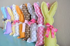 Make super easy fabric easter bunnies out of scrap fabric using pinking shears. So easy!! The Little Fabric Blog: A Basket of Bunnies