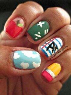 School-Theme Nail Designs That Make Us Want to Hit the Books Take a page from Fairly Charming's book, and combine your five favorite back-to-school-theme nail designs into one major mani. We can't blame you for not being able to choose! Nail Polish Designs, Cool Nail Designs, Acrylic Nail Designs, School Nail Art, Back To School Nails, Teacher Nail Art, Cute Nails, Pretty Nails, Hair And Nails