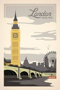 London, England vintage travel poster
