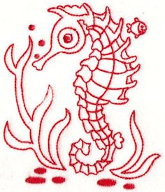 Seahorses Redwork by Bunnycup Embroidery at http://www.bunnycup.com/embroidery/design/SeahorsesRedwork
