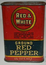 ANTIQUE RED 7 WHITE RED PEPPER SPICE TIN