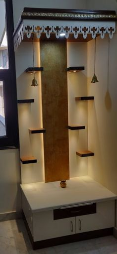 Design Discover Ideas for a Built-in Pooja Mandir and other custom furniture Mandir Design, Pooja Room Door Design, Home Room Design, Loft Design, House Design, Interior Design For Living Room, Design Design, Modern Design, Design Ideas
