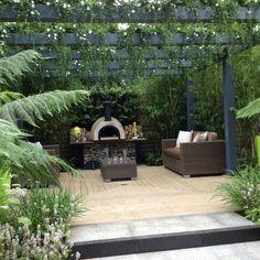 Image result for english garden landscape outdoor kitchen arbours