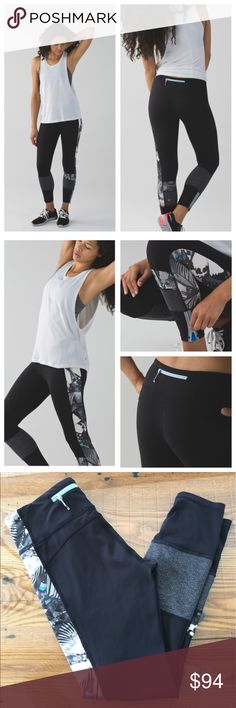 Lululemon Run the World 7/8 Tight So Fly Butterfly Rare and so fun with a butterfly print down the side of one leg.  These are in great condition. No piling, seams and logo intact.  Luxtreme  7/8 length  Med Rise   Less on 🅿🅿 💖 lululemon athletica Pants Leggings