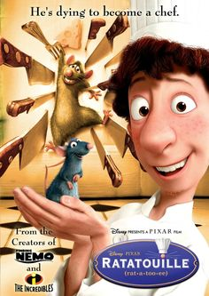Ratatouille (2007): With dreams of becoming a chef, a culinary genius in the form of a rat, makes an unusual alliance with a young kitchen worker at a famed restaurant (111 mins)  #movie