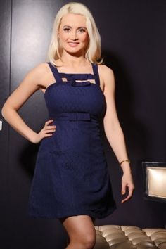 Holly Wearing ~  NAVY FITTED SLEEVELESS EYELET FLORAL BOW DETAIL DRESS  $31.99