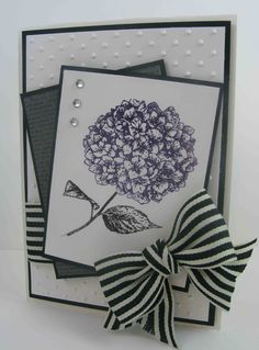 Products Used:   Cardstock: Whisper White, Basic Black, Basic Black DSP   Ink: Basic Black Marker, Elegant Eggplant Marker   Stamp Set: Because I Care   Other Products: Striped Black Grosgrain Ribbon, Basic Rhinestones, Dots Embossing Folder